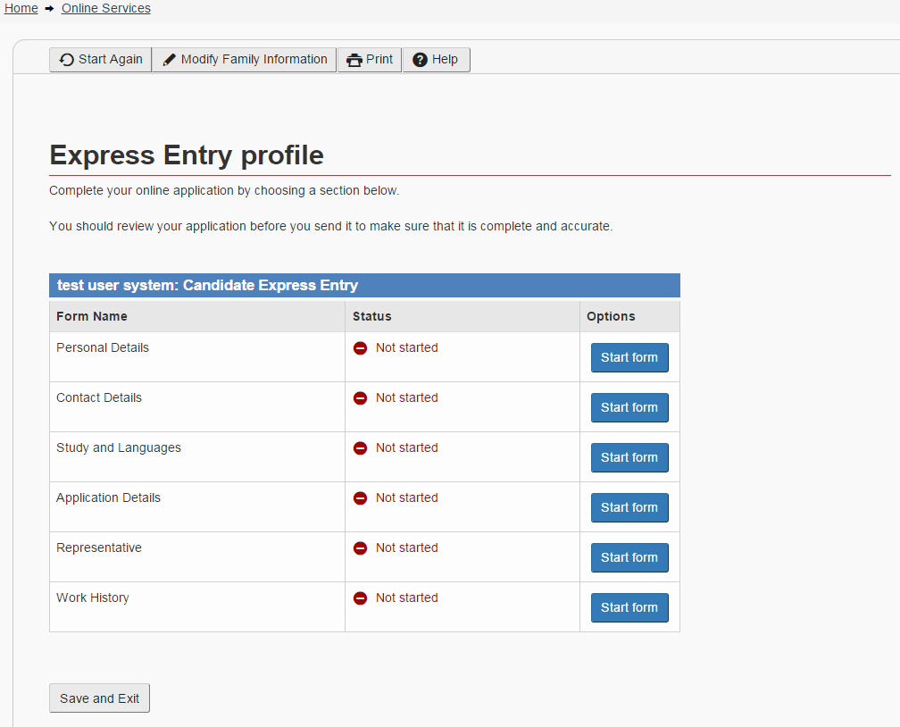 How to open Express Entry profile with images